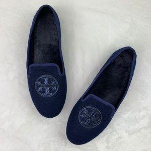 Tory Burch Navy Blue Felt/Fur Billy Loafers 10M